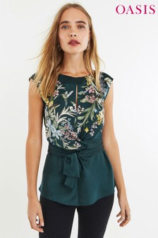 Oasis Green Floral Top With Tie Waist