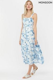 Monsoon Ladies Blue Bobby Boat Print Poplin Sun Dress