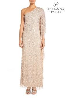 Adrianna Papell Cream Plus Long Beaded Dress