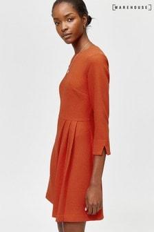 Warehouse Orange Kilt Pleat Mini Dress