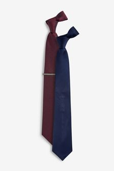 Spot And Plain Ties Two Pack With Tie Clip