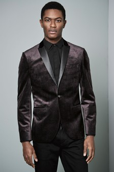 Printed Velvet Slim Fit Tuxedo Jacket
