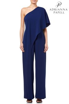 Adrianna Papell Blue One Shoulder Jumpsuit