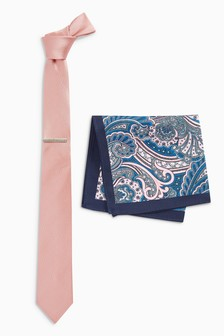 Tie With Paisley Pocket Square And Tie Clip