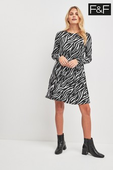 F&F Multi Zebra Print Swing Dress