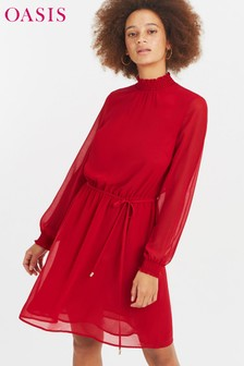 Oasis Red High Neck Dress