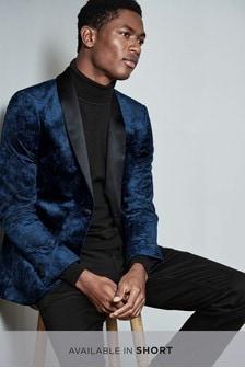 Printed Velvet Skinny Fit Tuxedo Jacket