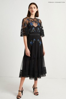 French Connection Black Embroidered Floral Dress