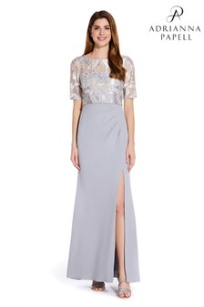 Adrianna Papell Silver Embroidered Long Gown
