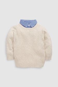 Mini Cable Knit Mockshirt (3mths-6yrs)