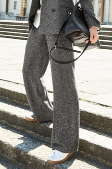 Neppy Texture Wide Leg Trousers