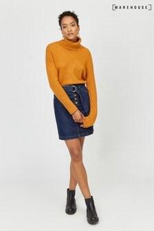 Warehouse Blue D-Ring Belted Denim Mini Skirt
