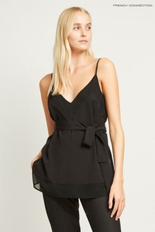 French Connection Black Crepe Light Solid Belted Cami