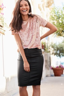 Coated Denim Pencil Skirt