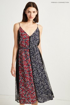 French Connection Red Floral Lace Mix Dress