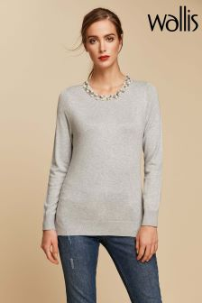 Wallis Grey Pearl Necklace Jumper
