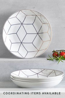 Set of 4 Rose Gold Marble Effect Pasta Bowls