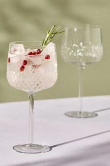 Set of 2 Embossed Gin Glasses