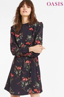 Oasis Blue Autumn Garden Midi Dress
