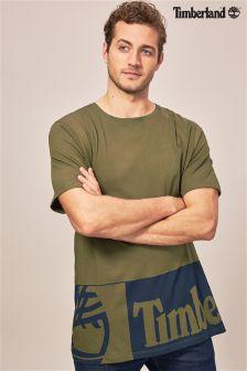 Timberland® Khaki Long Line Logo T-Shirt