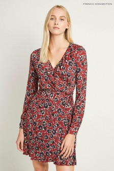 French Connection Red Floral Meadow Jersey Dress