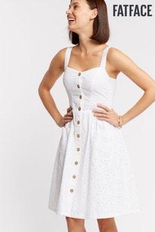 FatFace White Aubrey Broderie Dress