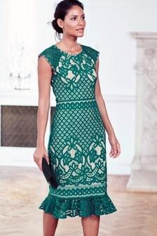 Lace Flute Hem Dress