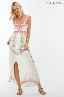 Accessorize White Printed Embellished Maxi Dress
