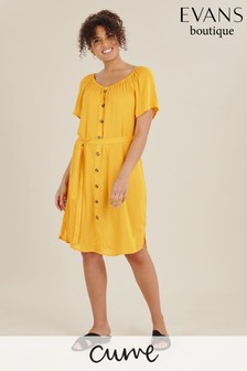 Evans Yellow Curve Button Through Dress