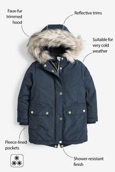 Shower Resistant Faux Fur Trimmed Parka (3-16yrs)