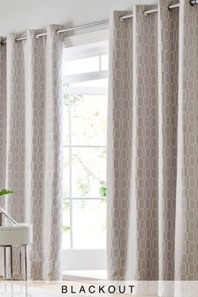 Geo Jacquard Blackout Eyelet Curtains