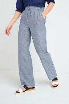 Linen Blend Wide Leg Trousers