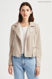 French Connection Cream Aimee Suedette Biker Jacket