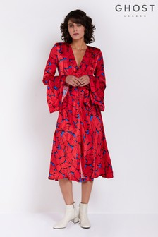 Ghost London Red Printed Annabelle Satin Dress