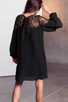 Lace Shoulder Pleat Dress