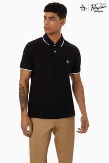 Original Penguin® Black Short Sleeve Sticker Pete Pique Polo