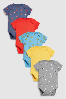 Animal Character Short Sleeve Bodysuits Five Pack (0mths-2yrs)