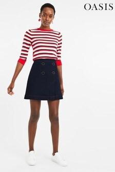 Oasis Blue 4 Button Front Denim Skirt