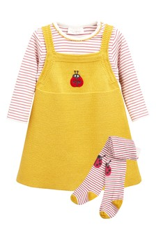 Knitted Pinafore, Bodysuit And Tights Set (0mths-2yrs)