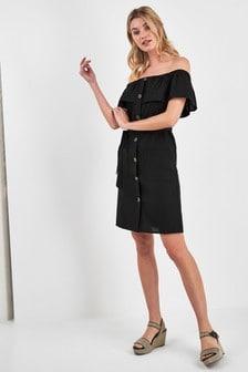 Bardot Button Dress