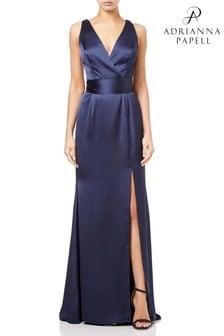Adrianna Papell Blue Satin Open Dress
