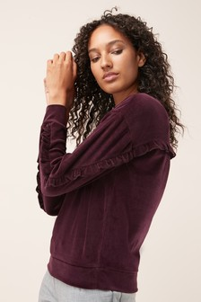 Velour Ruffle Sweater