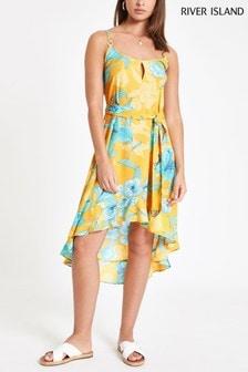 River Island Yellow Print Through Midi Dress