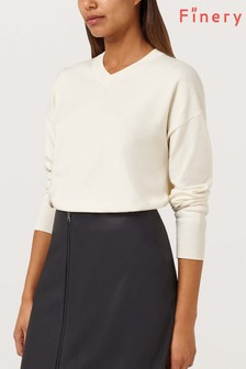 Finery London Camille Ecru V-Neck Easy Knit