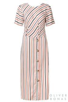 Oliver Bonas Tan Stripe Tie Back Midi Dress