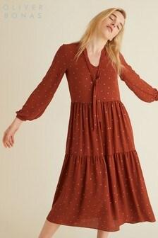 Oliver Bonas Tan Foil Tiered Dress