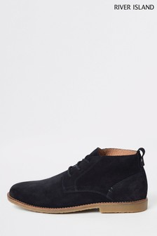 River Island Navy Suede Boot