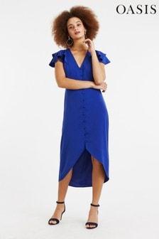 Oasis Blue Button Front Midi Dress