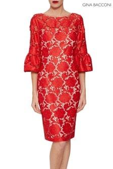Gina Bacconi Red Genoveva Embroidered Dress