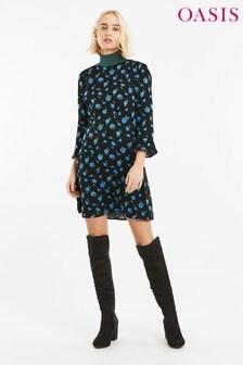 Oasis Natural Blue Rose Dress